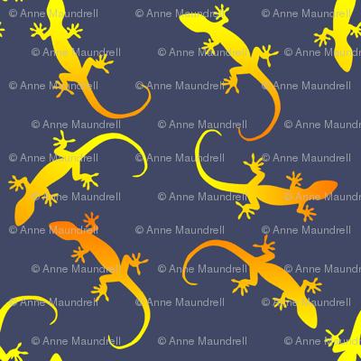 gecko party on dark blue