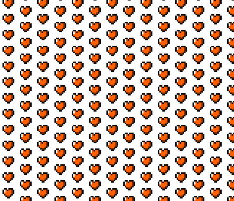 Orange 8-Bit Pixel Hearts On White fabric by craft_geek_or_die on Spoonflower - custom fabric