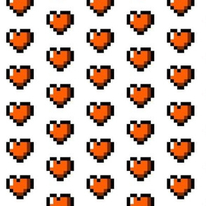 Orange 8-Bit Pixel Hearts On White