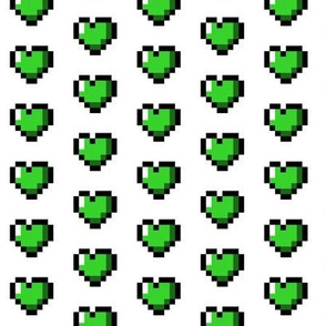 Green 8-Bit Pixel Hearts On White
