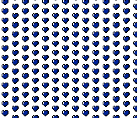 Blue 8-Bit Pixel Hearts On White fabric by craft_geek_or_die on Spoonflower - custom fabric