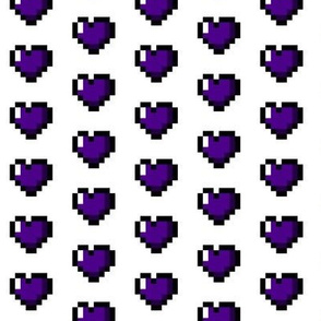 Purple 8-Bit Pixel Hearts On White
