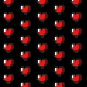 Red 8-Bit Pixel Hearts On Black (2)