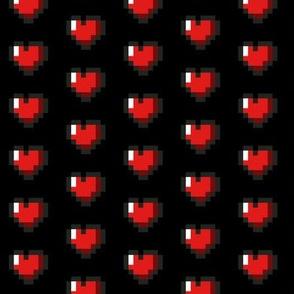 Red 8-Bit Pixel Hearts On Black (2)