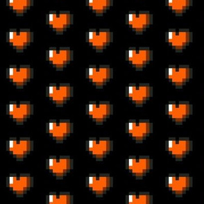 Orange 8-Bit Pixel Hearts On Black