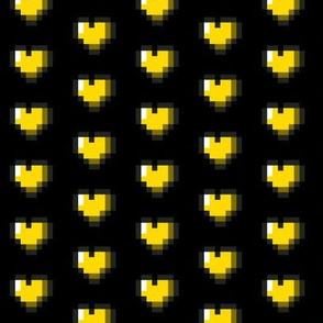 Yellow 8-Bit Pixel Hearts On Black
