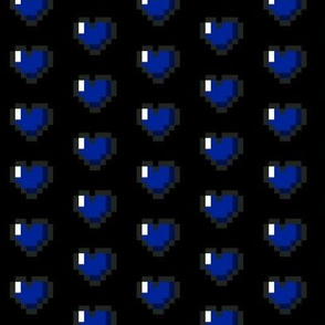 Blue 8-Bit Pixel Hearts On Black