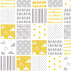 Unisex Yellow Grey Cheater Quilt