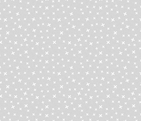 Cross (white on gray background) fabric by les_motifs_de_sarah on Spoonflower - custom fabric