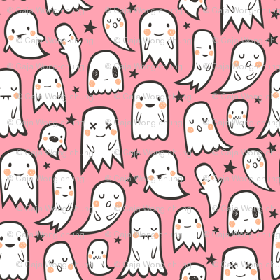 Ghosts and Stars Halloween on Pink