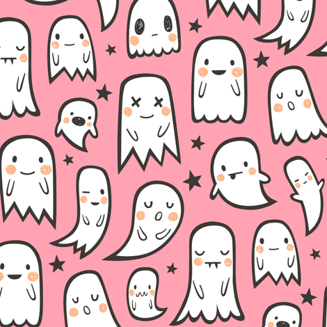 Ghosts and Stars Halloween on Pink fabric by caja_design on Spoonflower - custom fabric