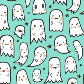 Ghosts and Stars Halloween on Mint Green