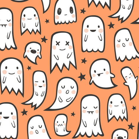 Ghosts and Stars Halloween on Orange fabric by caja_design on Spoonflower - custom fabric