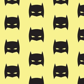 Superhero Bat Mask Black and Pale Yellow