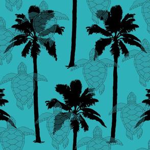 Black Palm Trees & Turtles on Aqua