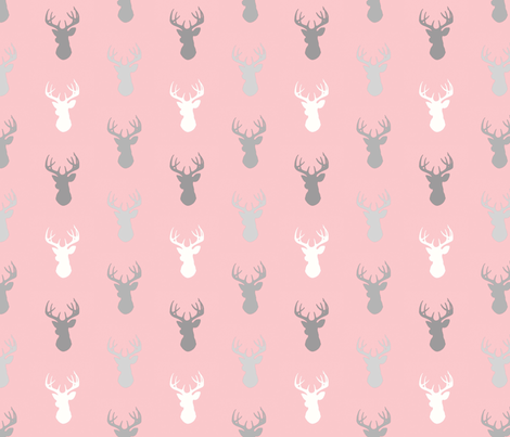 Deer- Half scale - Meadow sunrise - pink and grey fabric by sugarpinedesign on Spoonflower - custom fabric