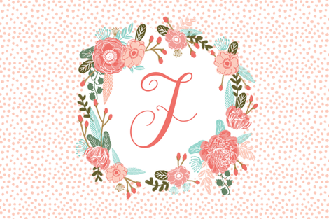 d monogram personalized flowers florals painted flowers girls sweet baby nursery fabric by charlottewinter on Spoonflower - custom fabric