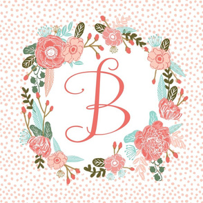 b monogram personalized flowers florals painted flowers girls sweet baby nursery