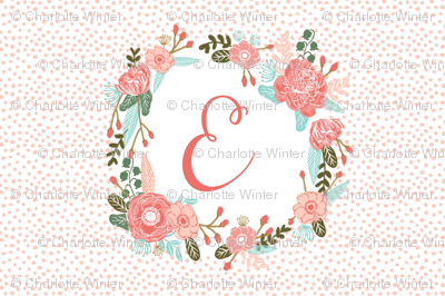 e monogram personalized flowers florals painted flowers girls sweet baby nursery