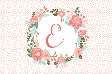 e monogram personalized flowers florals painted flowers girls sweet baby nursery fabric by charlottewinter on Spoonflower - custom fabric