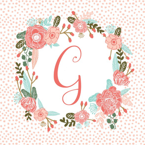 g monogram personalized flowers florals painted flowers girls sweet baby nursery
