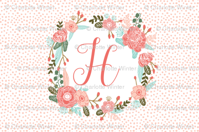 h monogram personalized flowers florals painted flowers girls sweet baby nursery