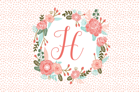 h monogram personalized flowers florals painted flowers girls sweet baby nursery fabric by charlottewinter on Spoonflower - custom fabric