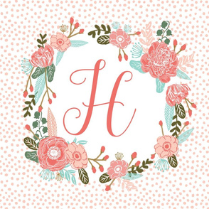 h monogram personalized flowers florals painted flowers girls sweet baby nursery