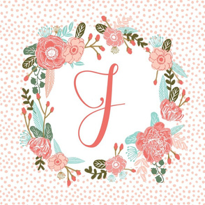 j monogram personalized flowers florals painted flowers girls sweet baby nursery