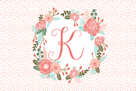 k monogram personalized flowers florals painted flowers girls sweet baby nursery fabric by charlottewinter on Spoonflower - custom fabric