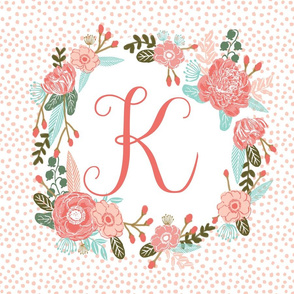 k monogram personalized flowers florals painted flowers girls sweet baby nursery