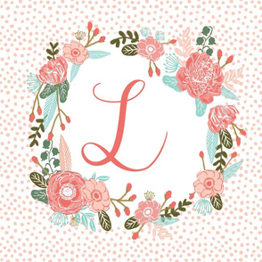 l monogram personalized flowers florals painted flowers girls sweet baby nursery