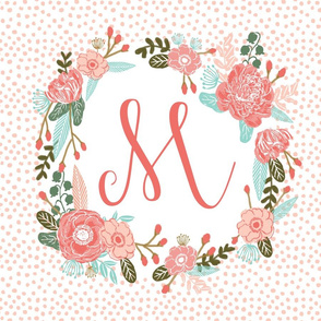 m monogram personalized flowers florals painted flowers girls sweet baby nursery