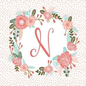 n monogram personalized flowers florals painted flowers girls sweet baby nursery