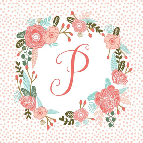 p monogram personalized flowers florals painted flowers girls sweet baby nursery