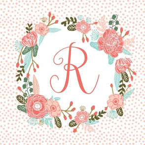 r monogram personalized flowers florals painted flowers girls sweet baby nursery