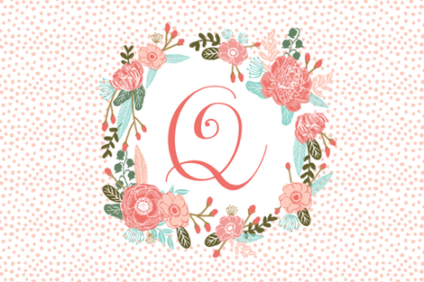 q monogram personalized flowers florals painted flowers girls sweet baby nursery fabric by charlottewinter on Spoonflower - custom fabric