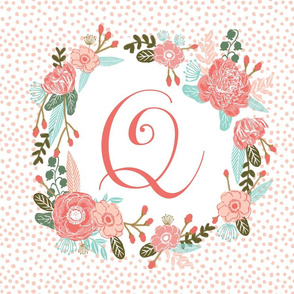 q monogram personalized flowers florals painted flowers girls sweet baby nursery
