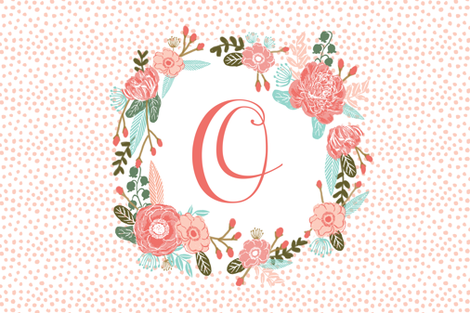 o monogram personalized flowers florals painted flowers girls sweet baby nursery fabric by charlottewinter on Spoonflower - custom fabric