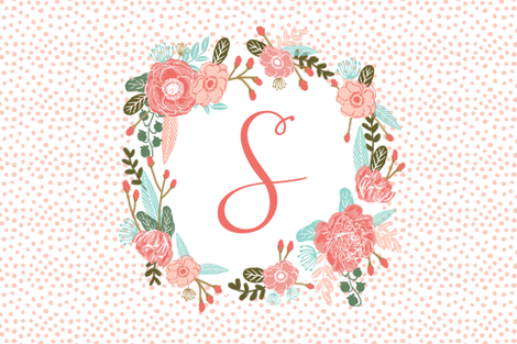s monogram personalized flowers florals painted flowers girls sweet baby nursery fabric by charlottewinter on Spoonflower - custom fabric