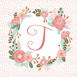 t monogram personalized flowers florals painted flowers girls sweet baby nursery