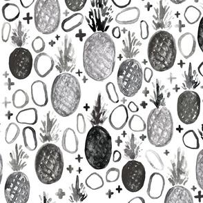 pineapple monochrome // modern, trendy, black and white, fruit, boy, girl, unisex, gender neutral, tamara arcilla, tamara_arcilla