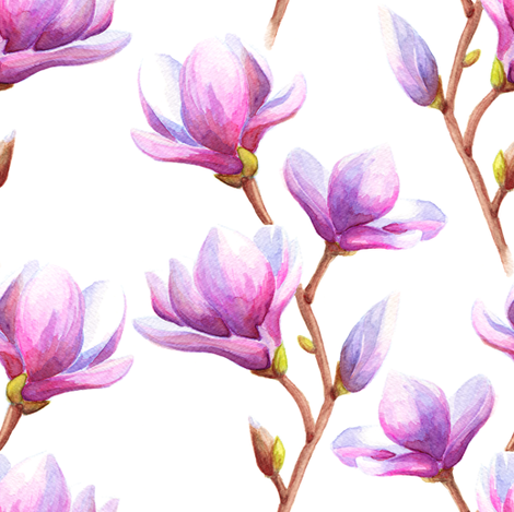 Watercolor magnolia pattern fabric by marafribus on Spoonflower - custom fabric
