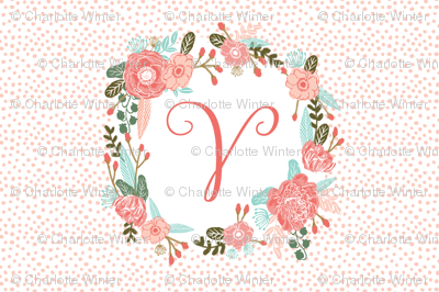 v monogram personalized flowers florals painted flowers girls sweet baby nursery