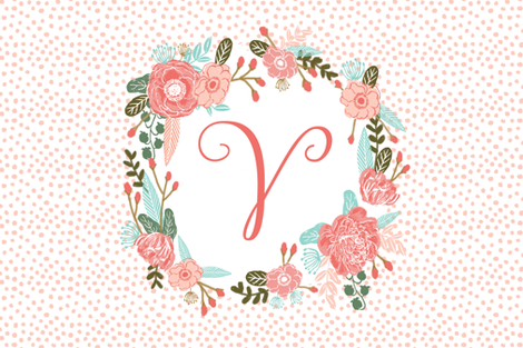 v monogram personalized flowers florals painted flowers girls sweet baby nursery fabric by charlottewinter on Spoonflower - custom fabric