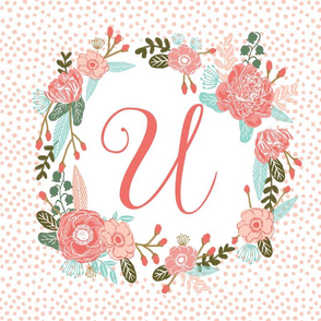 u monogram personalized flowers florals painted flowers girls sweet baby nursery