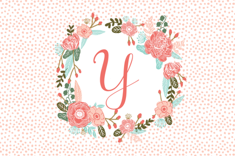 y monogram personalized flowers florals painted flowers girls sweet baby nursery fabric by charlottewinter on Spoonflower - custom fabric