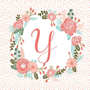 y monogram personalized flowers florals painted flowers girls sweet baby nursery