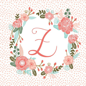 z monogram personalized flowers florals painted flowers girls sweet baby nursery