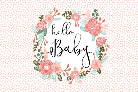 sweet hello baby fq girls sweet flowers pillow cute girls  fabric by charlottewinter on Spoonflower - custom fabric